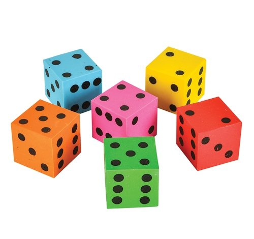 1'' DICE ERASERS, Case of 720 by DollarItemDirect