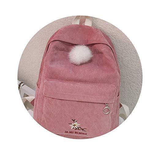 female high school students backpack new style corduroy street shoulder bag cute velvet ball,Pink