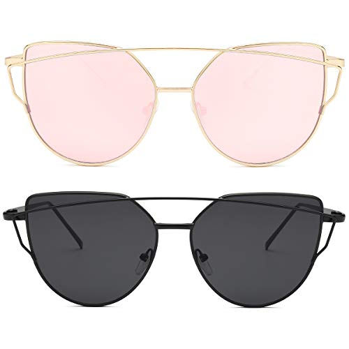 Livhò Sunglasses for Women, Cat Eye Mirrored + Transparent...