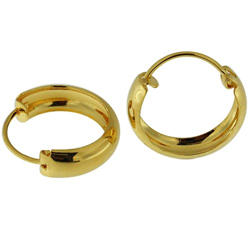 18K Yellow Gold PVD 12MM 925 Sterling Silver Plain Classic Hoop Earring Jewelry