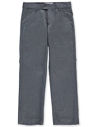Gray Charcoal Dress Pants (Isaac Mizrahi Big Boys' Wool Blend Slim Pant, Charcoal, 12 Husky)