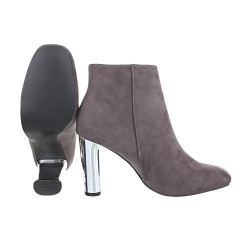 Tacón Gris Tacón Para Design Botines Botas Zapatos Ital Mujer de Mini YqZ7WwU