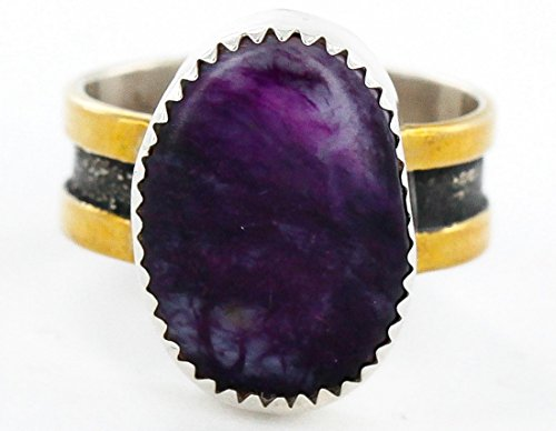 - 12kt Gold Filled and .925 Sterling Silver Handmade Certified Authentic Navajo Purple Spiny Oyster Native American Ring
