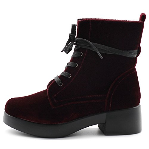 Up Velvet Burgundy Combat Bootie Women's Boots TWB0109 Lace Ankle Shoes Ollio wA6ac