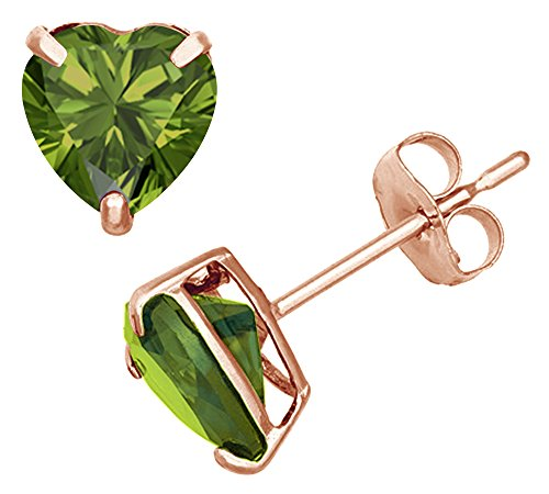 (Simulated Green Peridot Heart Shape Stud Earrings In 14K Rose Gold Over Sterling Silver (4 Ct))
