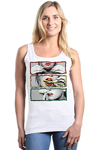 Shop4Ever Rasta Outline Smoking Blunt Women's Tank Top Large White ()