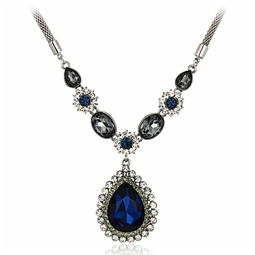 - Adorable Woman Drop Shaped Metal Chain Mazarine Pendant Necklace