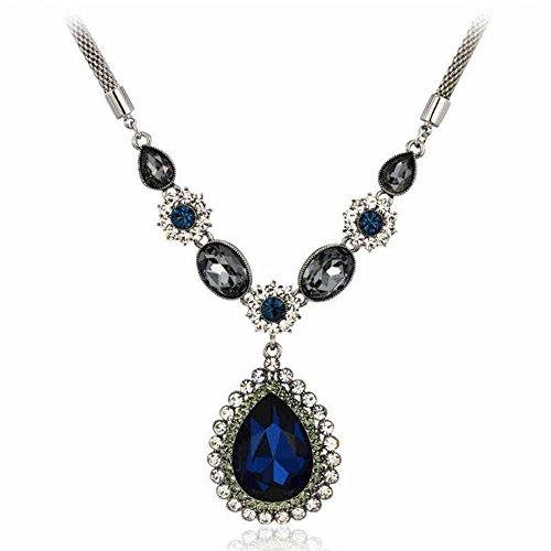Adorable Woman Drop Shaped Metal Chain Mazarine Pendant Necklace