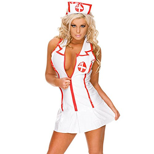 YKSH Woman's Sexy Lingerie Nurse Uniform, Ladies Nurse Role Sexy Lingerie Suit Cosplay Costume Outfit Set for Temptation Role-Playing Club]()