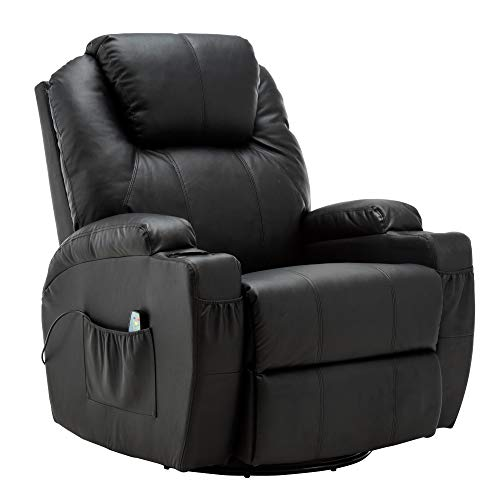 (Modern Massage Recliner Chair Vibrating Sofa Heated PU Leather Ergonomic Lounge 360 Degree Swivel Rocker 8031)