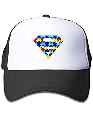Autism Superhero Awareness Adjustable Mesh Caps Summer Hats For Kids One Size Fits Most