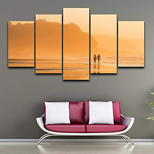 40x60 40x80 40x100cm No Frame Canvas Painting Poster Living Room Printed 5 Piece Pcs Sunset Dusk Beach View Modern HD Framework Home Decor Picture