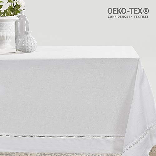 Simple&Opulence Premium 100% Linen Hemstitch Tablecloth for Rectangular Table White 60 x 84 Inch
