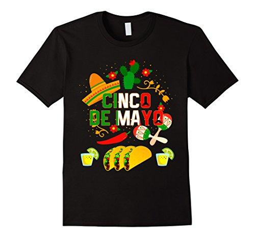 Men's Fiesta Cinco De Mayo T-Shirt Cinco De Mayo Costume Shirt Large Black