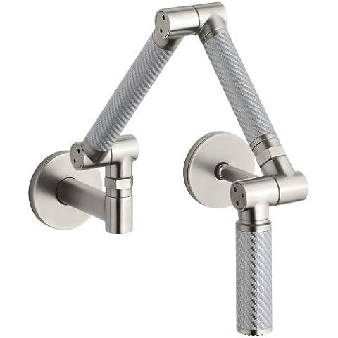 KOHLER K-6228-C11-VS Karbon Wall-Mount Kitchen Faucet with Silver Tube, Vibrant Stainless