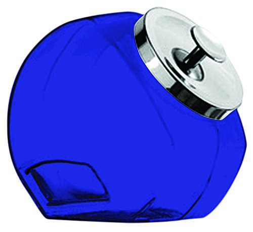 Glass 80 Anchor Hocking 69857R Penny Candy Storage Jar with Chrome Cover - Full Color Cobalt Blue - Additional Vibrant Colors Available by TableTop (Blue Glass Cookie Jar)