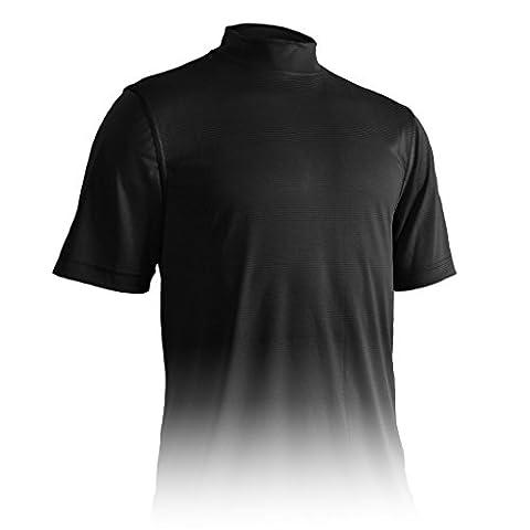 Monterey Club Mens Dry Swing Tonal Thin Stripe Mock Neck Shirt #3301 (Black, 2X-Large) - Signature Camp Shirts