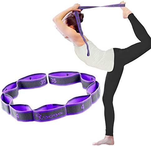 SONGSU Elastic Stretch Strap, Stretching Out Strap for Physical Therapy with 8 Loops, Yoga, Dance and Pilates, Gymnastics, Hamstring Strength Training - Purple