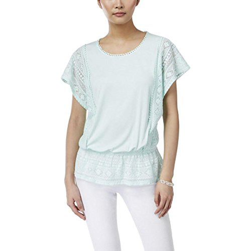 Style & Co. Womens Petites Lace Trim Short Sleeve Blouse Green PL (Petite Lace Trim)