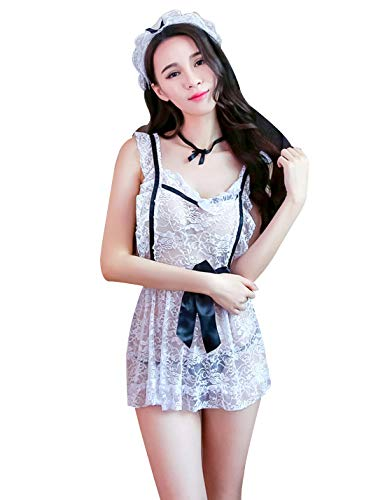 (M_Eshop Sexy Maid Lingerie Nurse Outfits Lovers Schoolgirls Cosplay Erotic Bedroom Costume Teddy Set (Maid))