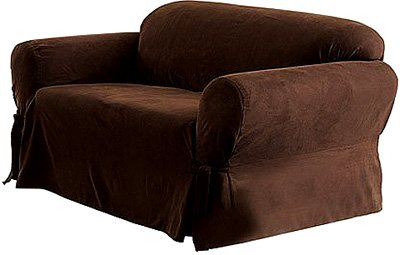 Genial Soft Suede Sofa Slipcover   Chocolate