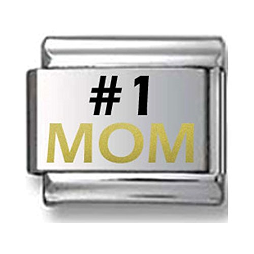 #1 MOM Black and Gold Laser Italian Charm V.2