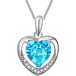 """925 Sterling Silver Heart Necklace Pendant Engraved """"You are My Sunshine"""" Blue Crystal White Gold Plated"""