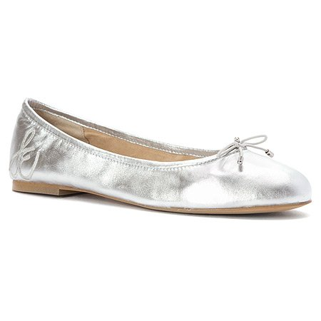 Sam Edelman Donna Felicia Balletto In Pelle Argento Piatto