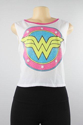 DC Comics Womens Juniors Cropped Contrast Trim Muscle Tank White M