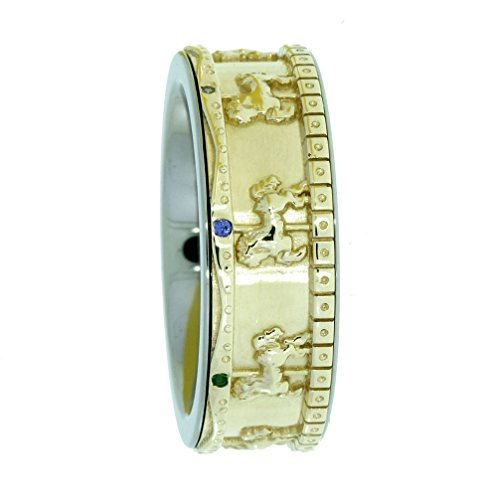Amethyst, Aquamarine, Blue Sapphire, Green Garnet, Yellow Sapphire, Poppy Topaz, Ruby, White Sapphire Hand-Carved Merry-Go-Round Spinner Ring, 14k Yellow Gold and Titanium Band, Size 9 by The Men's Jewelry Store (Unisex Jewelry)