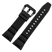 Zhuolei Black Silicone Rubber Band Strap 25x12mm Concave Lug Fit For Casio sgw-100 Smart watches