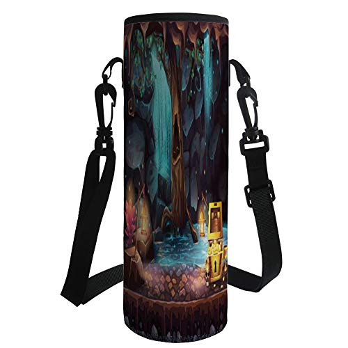 iPrint Water Bottle Sleeve Neoprene Bottle Cover,Fantasy,Cartoon Style Cave Landscape with a Big Tree Treasure Chest Lamps and Waterfall,Multicolor,Fit for Most of Water Bottles by iPrint