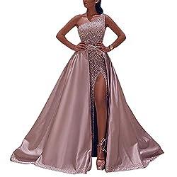 Onsoyours Damen Spitze Off Shoulder Plissee Kurzarm Schlitz Elegante Maxikleid Partykleid Abendkleid