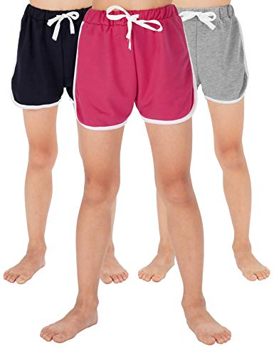 WEWINK PLUS Girls Cotton Shorts 4-13 Years (Gray+Rose red+Navy Blue, 8-10 Years) by WEWINK PLUS