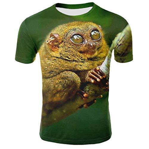 MIUCAT  Men's T-Shirt Graphics Fun Short Sleeve Round Neck 3D Printed Casual Slim Summer Fashion Tops Green