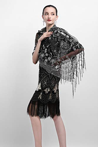 Zivyes 1920s Shawl Beaded Sequin Wraps Evening Cape Wedding Bridal Scarf Flapper Cover up by Zivyes (Image #2)