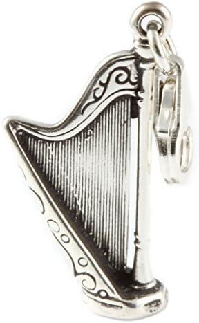 Argent Sterling Irlande Harpe Breloque /à Cliper Soud/é sur Fermoir