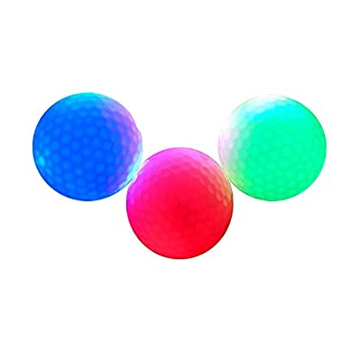 IFLYING Night Golf Balls LED Golf Balls Perfect for Night Golf and to Practice Long Range and Distance Shots 3 Pack(Red, Blue, Green)