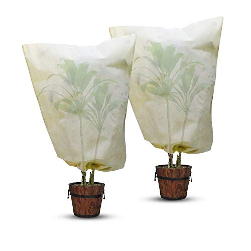 AmFor 2 Pack Winter Drawstring Plant Covers,31.5 X 39.4 Inch Reusable Non-Woven Frost Blanket for Garden Plant Fruit Tree Frost Protection