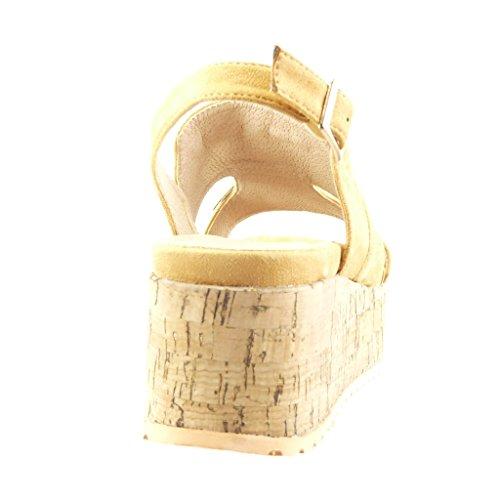 pom Angkorly Talon Plateforme 5 6 Sandale Cm Camel Frange Mode Mule Compensé Chaussure Pom Femme Strass Diamant q8wq4A