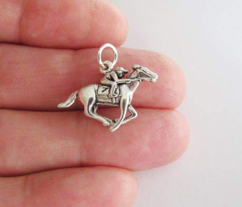 Sterling Silver Racehorse Horse and Jockey Charm - for sale  Delivered anywhere in USA