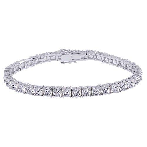 - Jewel Zone US Platinum Clad Sterling Silver 100-Facet Polar Star Tennis Bracelet 7