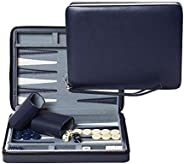 WE Games Blue Magnetic Backgammon Set with Carrying Strap - Travel Size