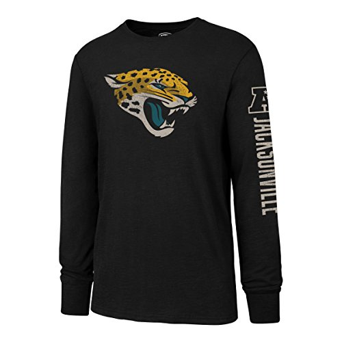 NFL Jacksonville Jaguars Men's OTS Slub Long Sleeve Team Name Distressed Tee, Jet Black, Large