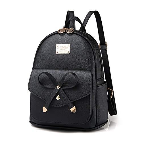 Bow Mini Purse - Girls Leather Mini Backpack Purse Cute Bowknot Fashion Small Backpacks Purses for Teen Women - Black