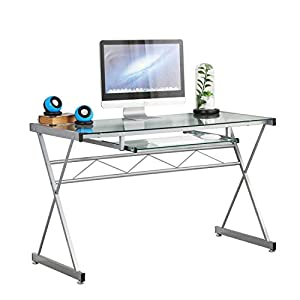sogesfurniture Tempered Glass Top Computer Workstation Office Desk Large PC Gaming Desk Study Writing Table with…