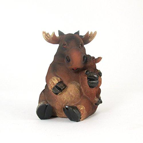 Loving Mother Moose Hugging the Baby Moose Coin Bank Figurine - Moose Bank