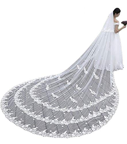 Faiokaver Cathedral Wedding Veils with Rhinestones 2 Tier Lace Appliques with Comb