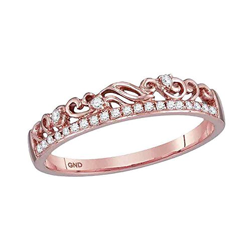 10kt Rose Gold Womens Round Diamond Floral Accent Stackable Band Ring 1/12 Cttw (Stackable Diamond Band Rose Gold)