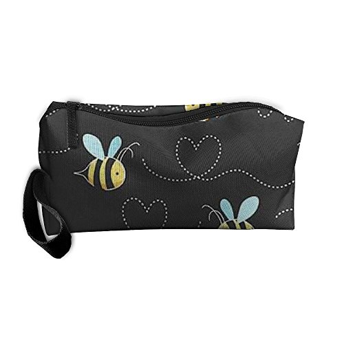 Cosmetic Bags With Zipper Makeup Bag Yellow Bumblebee Middle Wallet Hangbag Wristlet Holder -